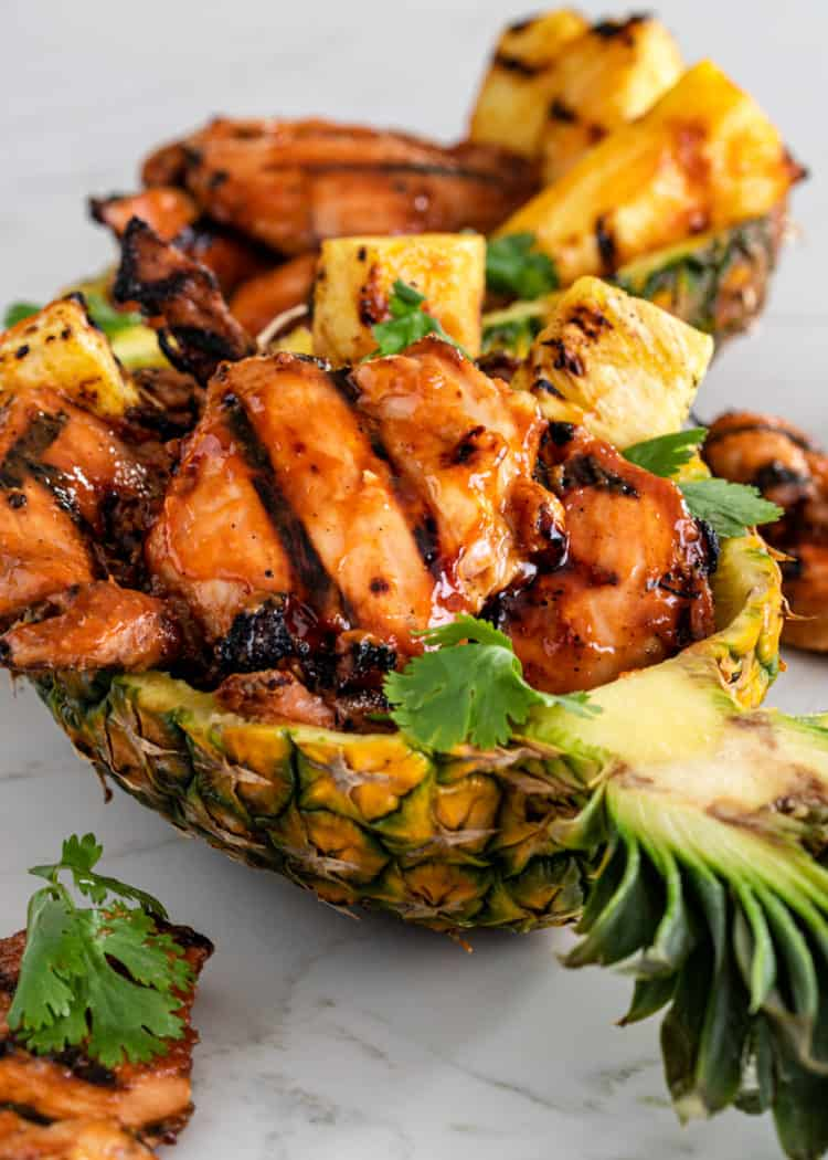 Hawaii chicken dinner - grilled chicken covered with Hawaiian BBQ sauce and grilled pineapple