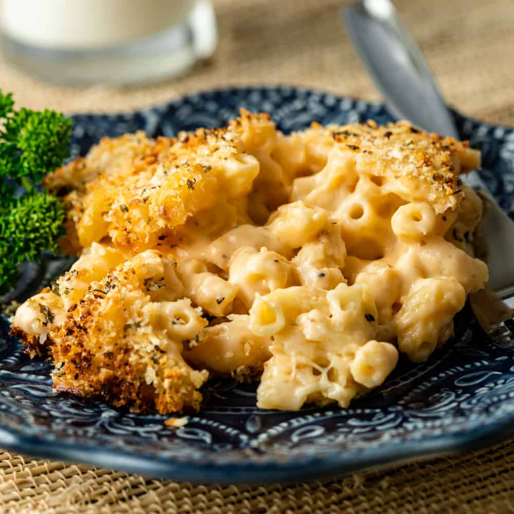 plate full of creamy smoked mac and cheese with toasted breadcrumb topping