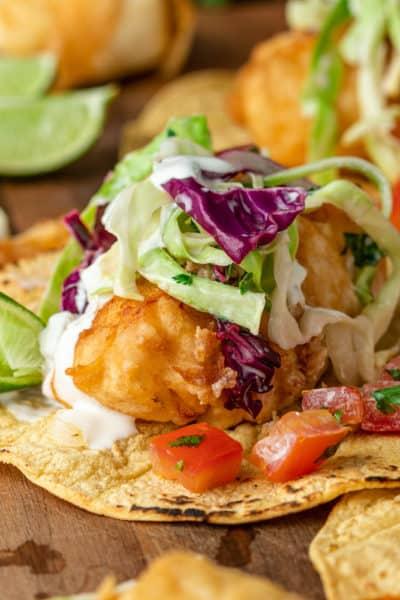 fish tacos on corn tortillas