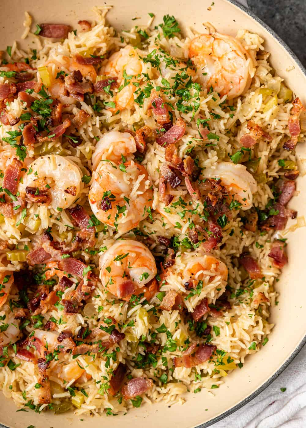 succulent shrimp mixed with bacon, cajun rice and herbs
