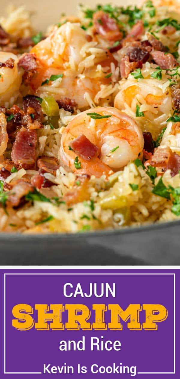 titled photo collage of Cajun shrimp and rice dinner