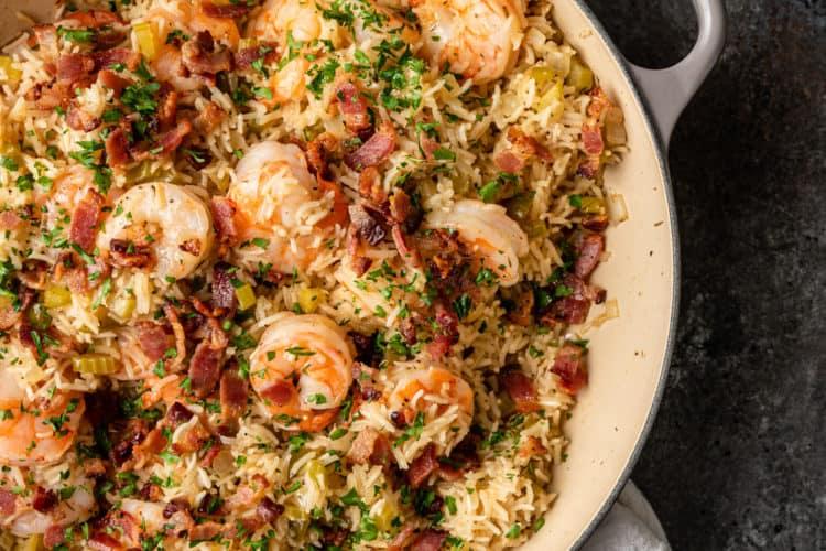 overhead photo: cajun shrimp and rice in large pot