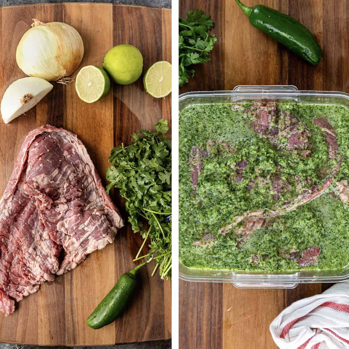photo collage: on left - raw skirl steak with ingredients to make cilantro lime steak marinade. on right - steak in marinade