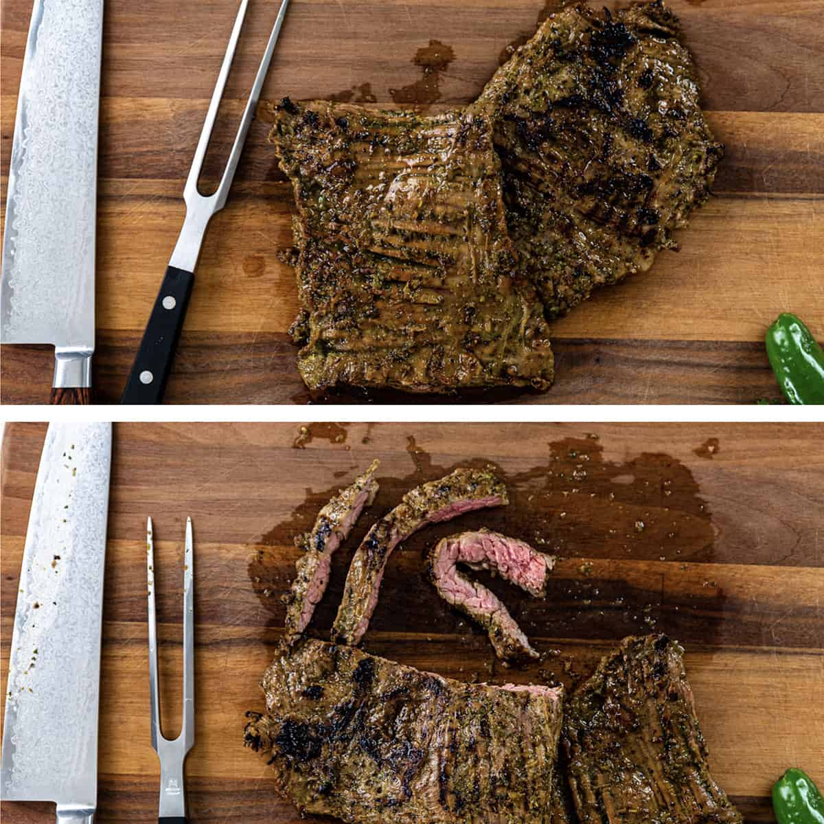 overhead shot of cooked steak sliced against the grain next to chef's knife and carving fork