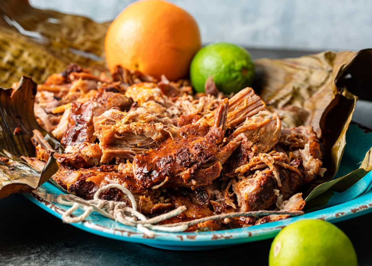 shredded Yucatan Pork - Braised Pulled Pork (Cochinita Pibil) on platter