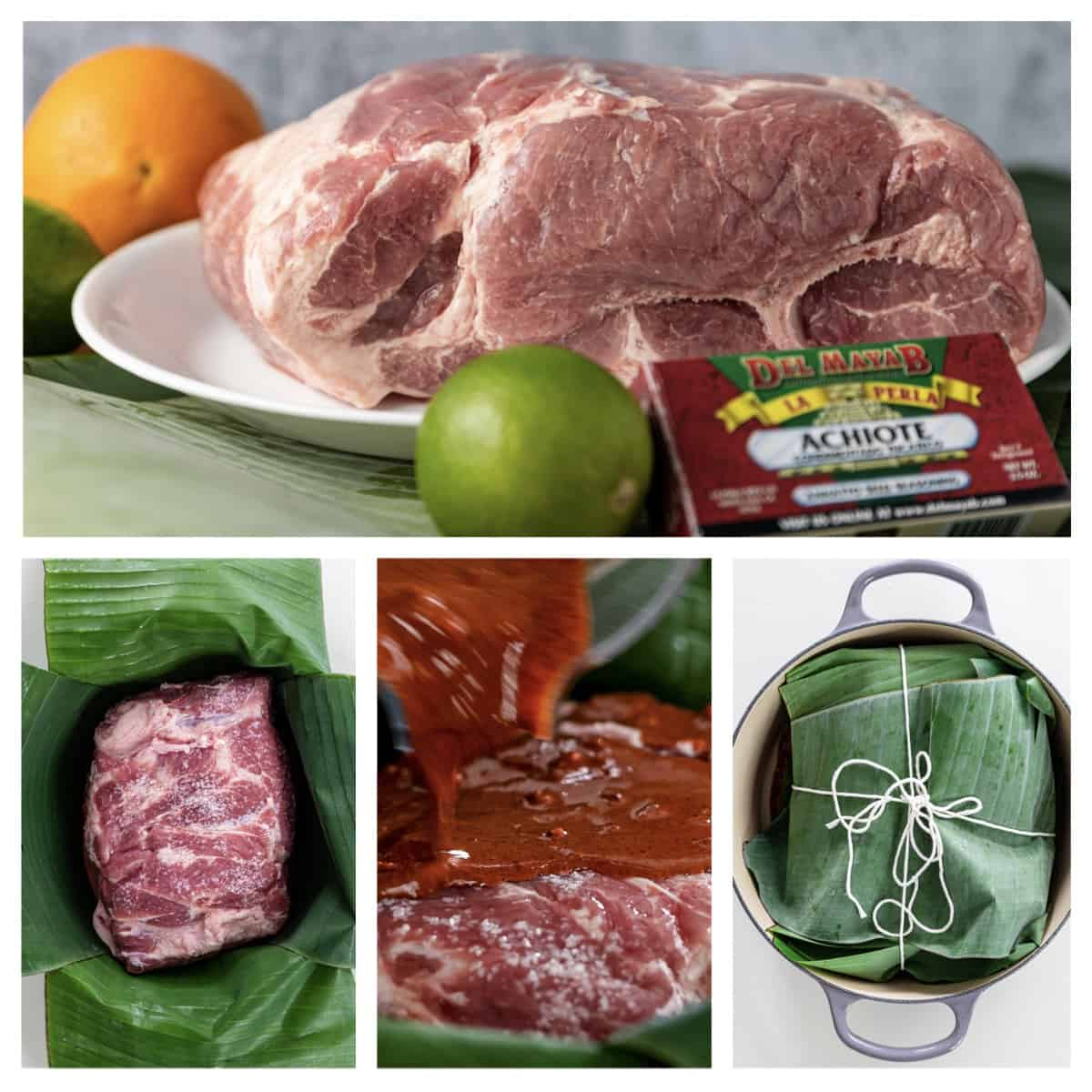 steps on how to make cochinita pibli, slow braised pork with sauce