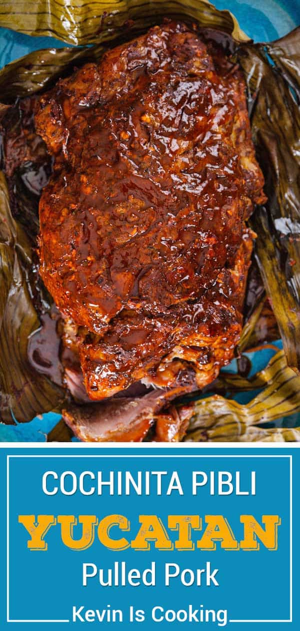 saucy cochinita pibli unwrapped in banana leaves