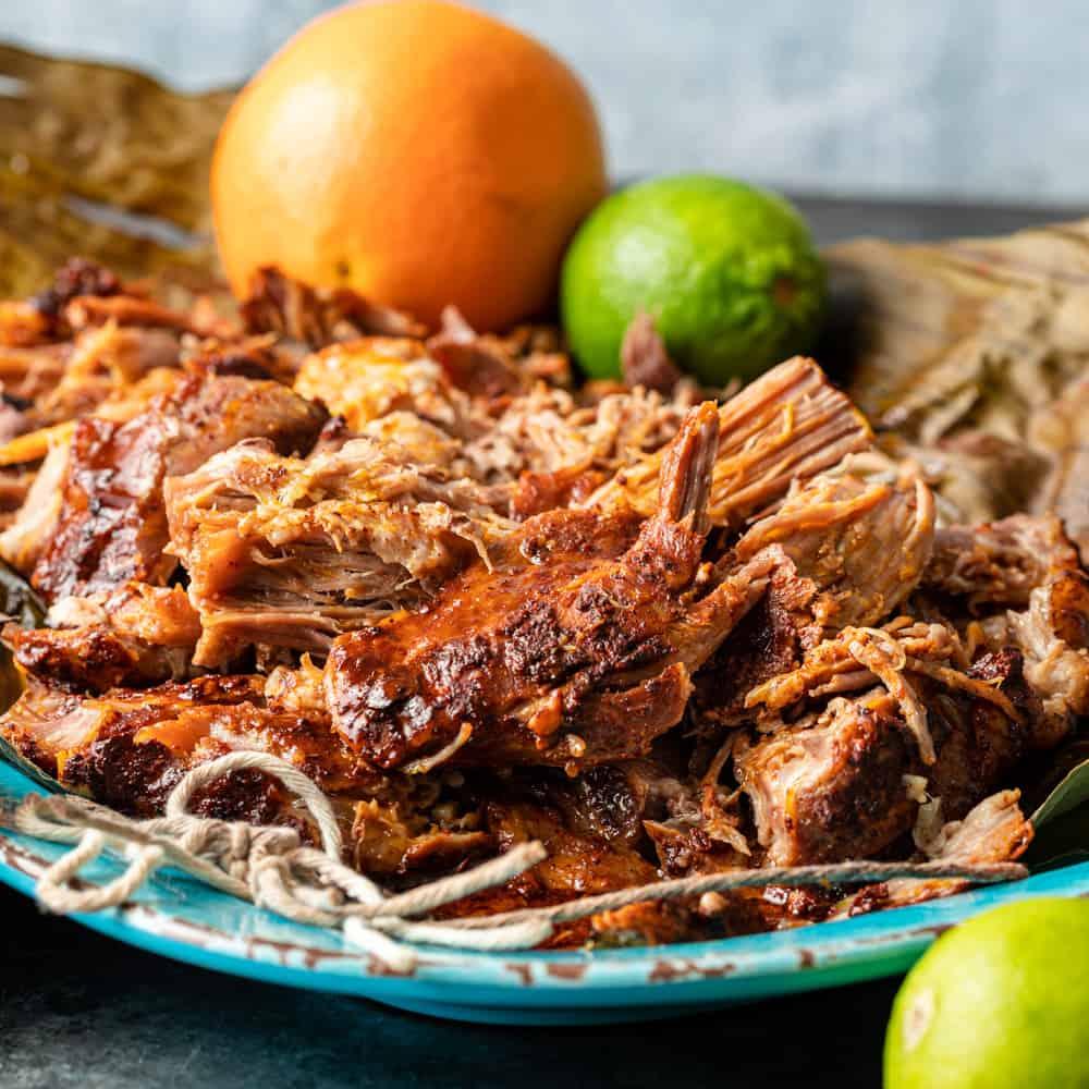 Yucatan Pork - Braised Pulled Pork (Cochinita Pibil) on a platter