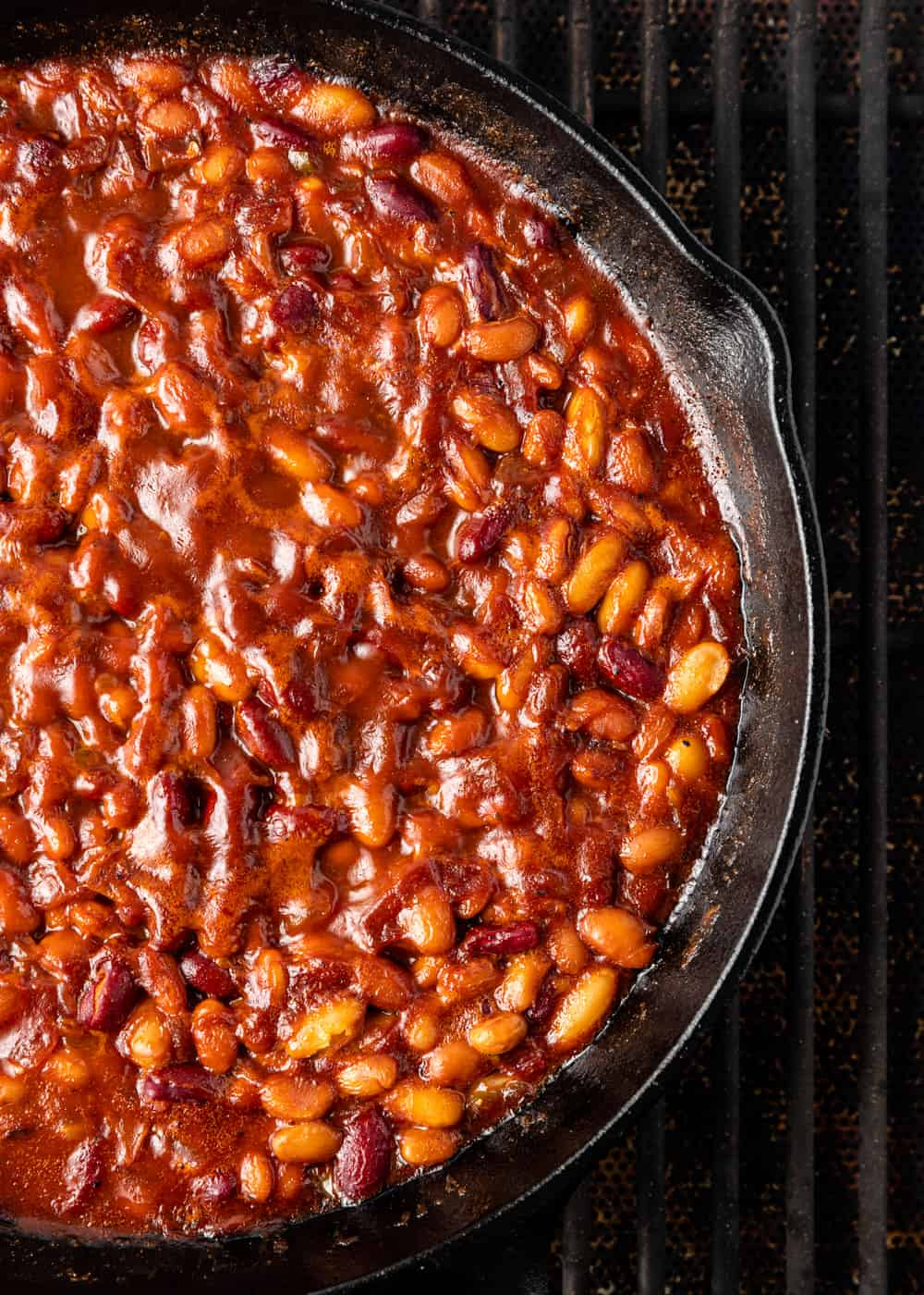 A close up of simmered smoked beans