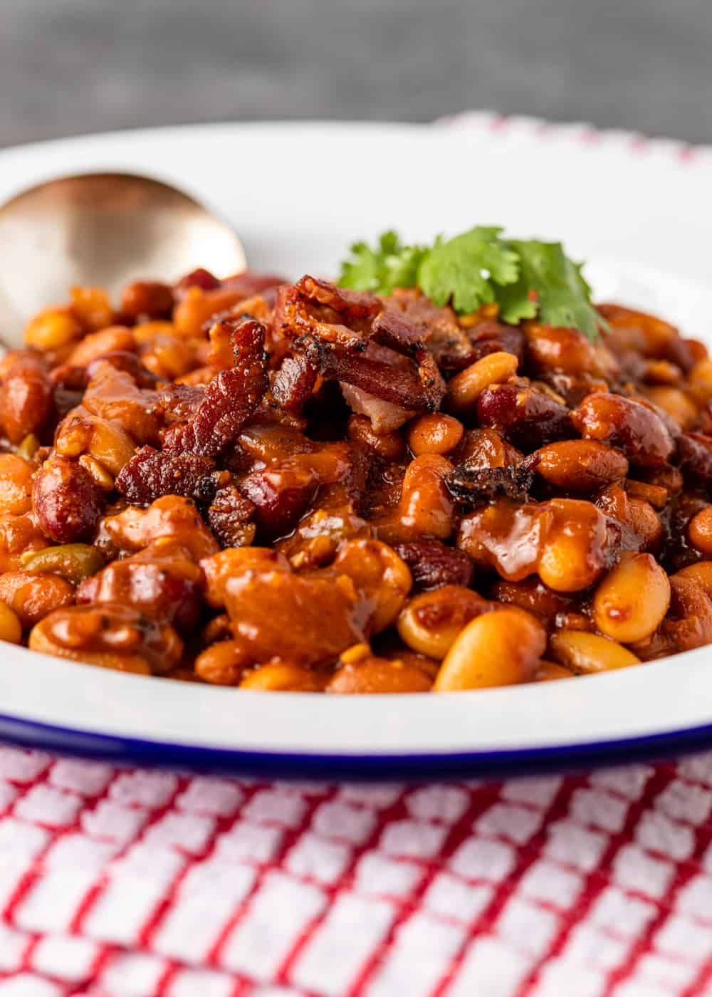 A plate of smoked beans with bacon