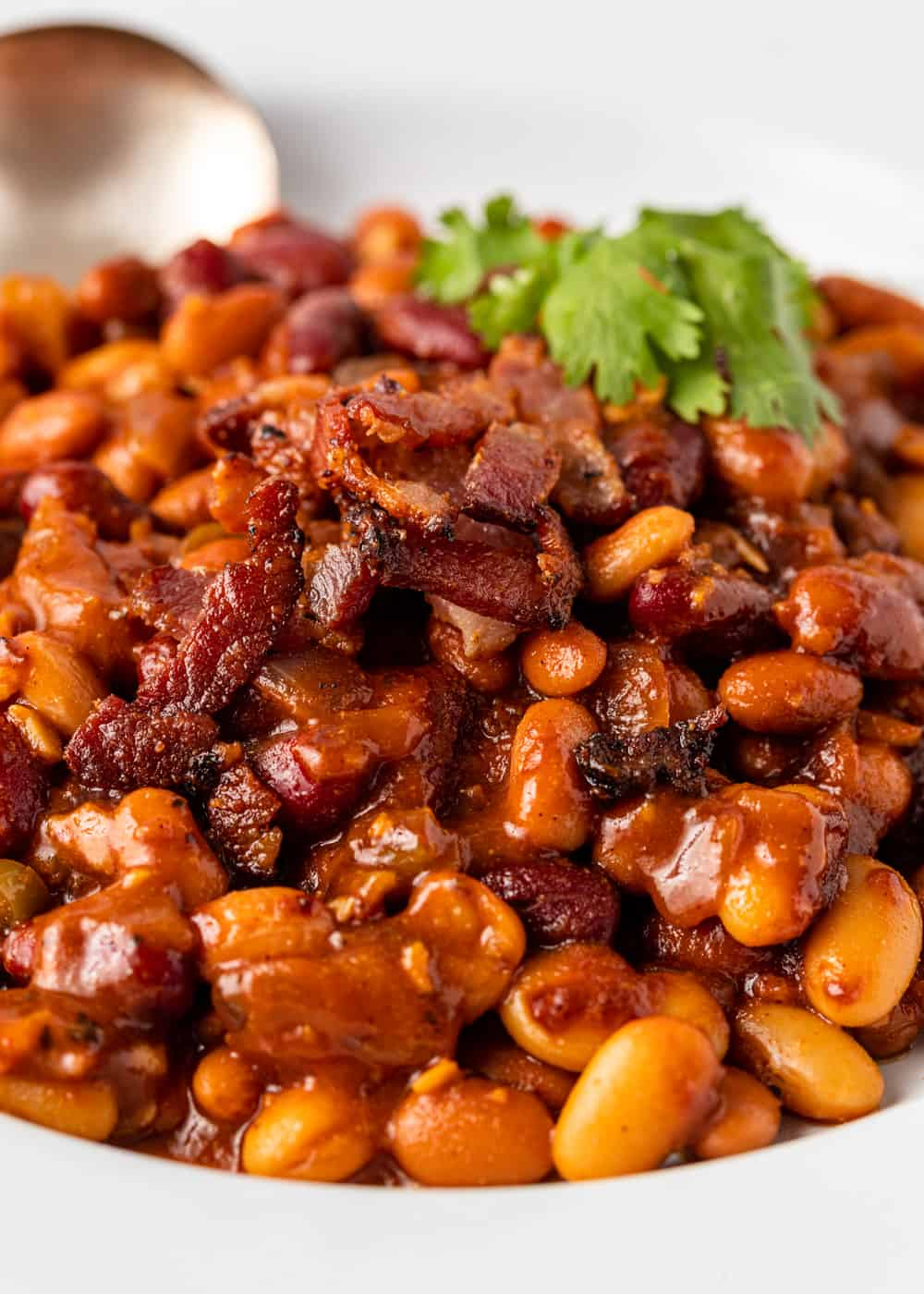 close up of smoked beans topped with bacon and cilantro leaf