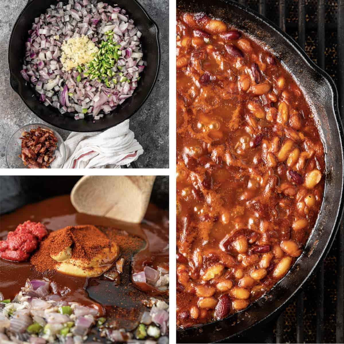 montage of prep photos to make smoked beans