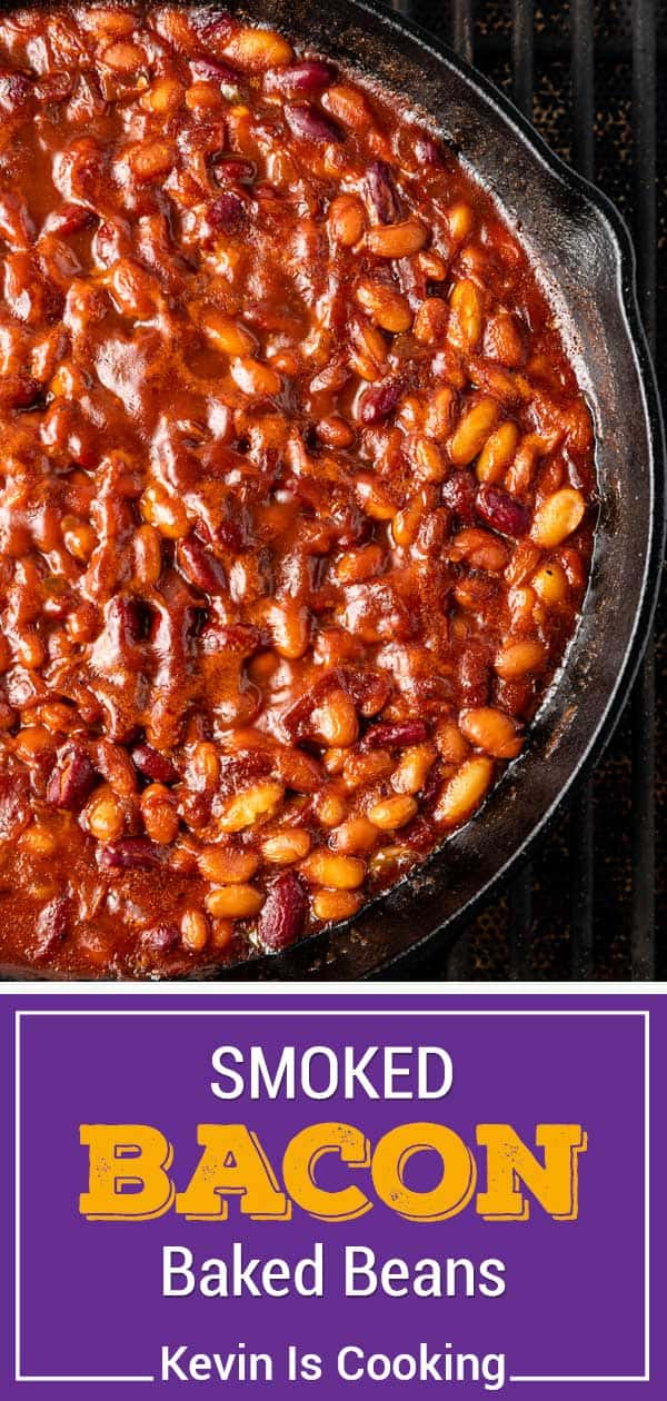 smoked saucy beans in cast iron skillet