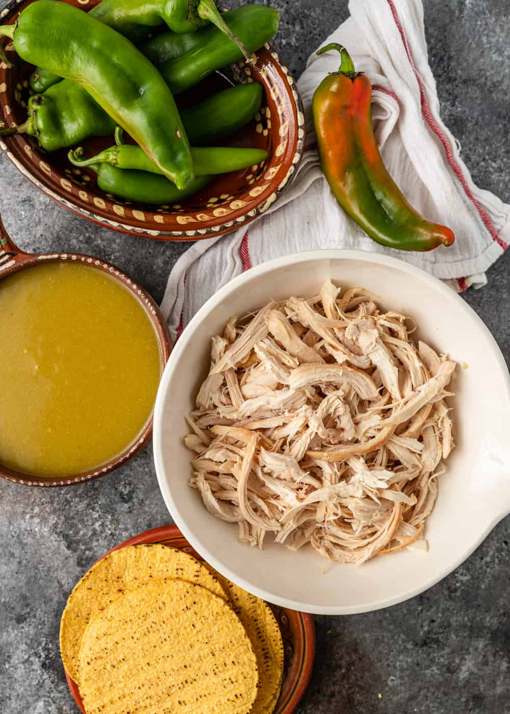 overhead photo: ingredients to make green chile chicken