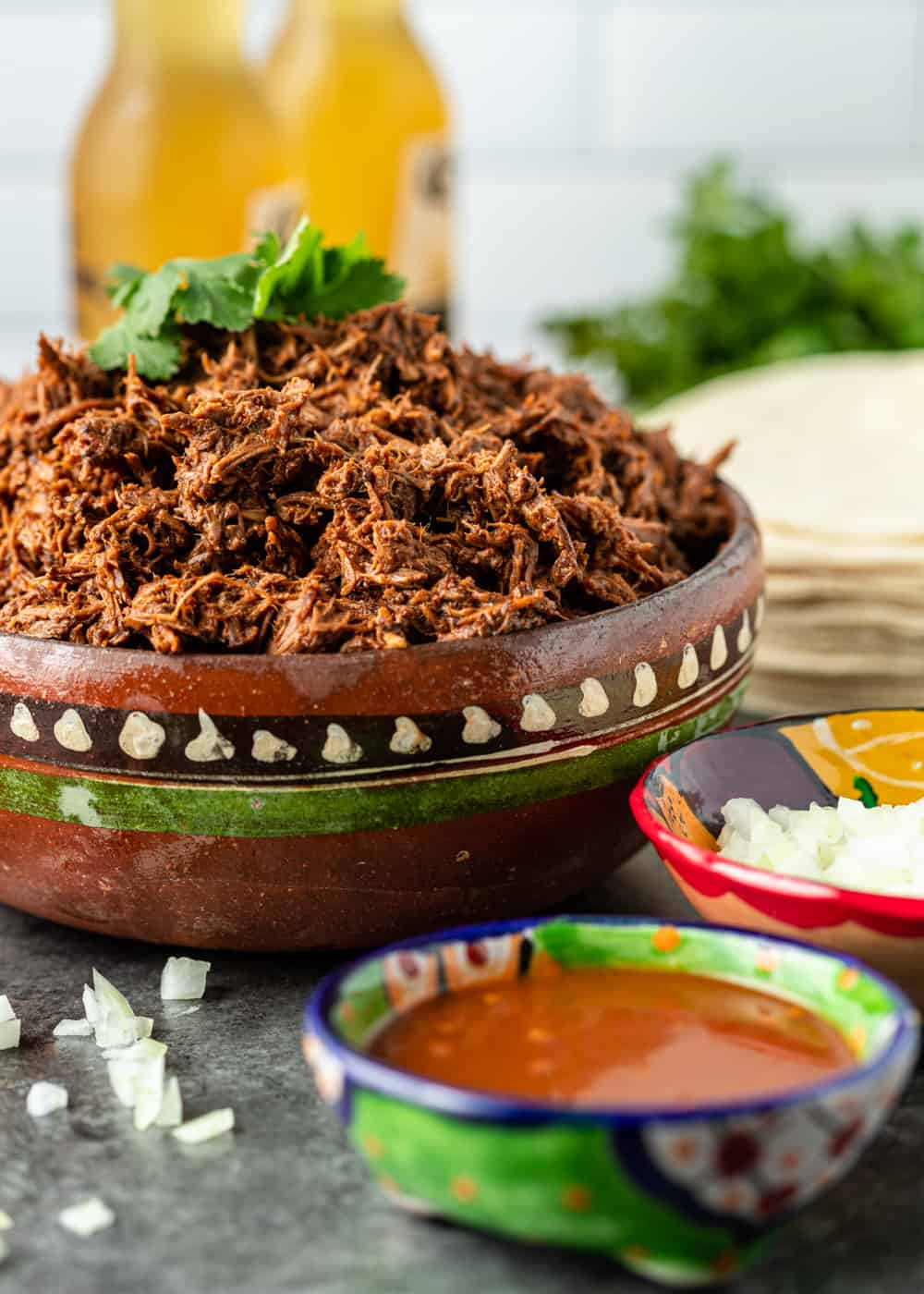 shredded birria beef in Mexican clay pottery with dipping sauce