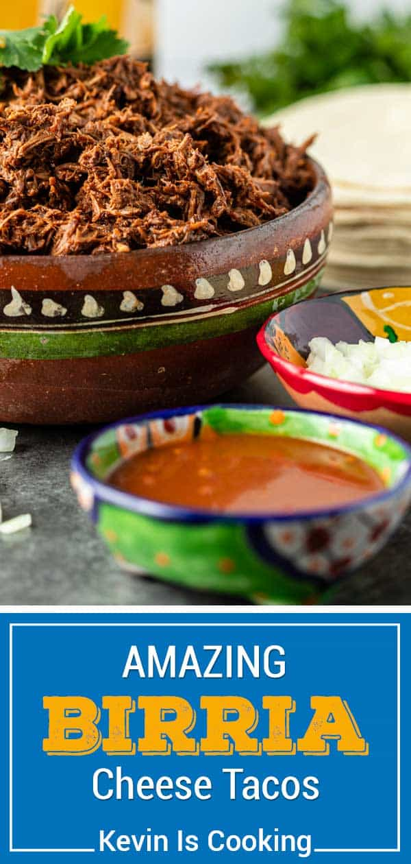 A bowl of shredded Birria and small bowls of onion and consume