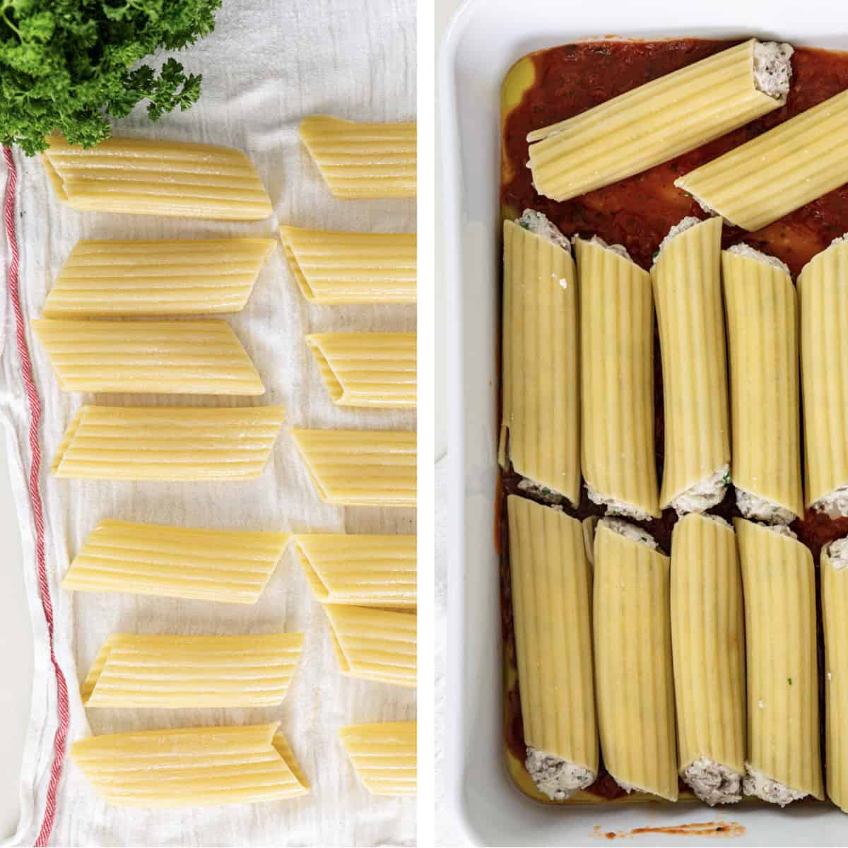 cooked manicotti shells on towel and others stuffed in pan with tomato sauce