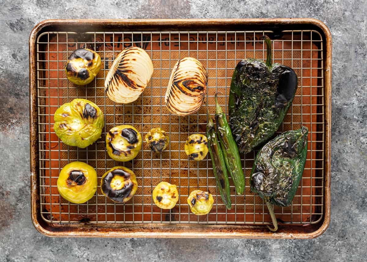 roasted vegetables, peppers for green sauce