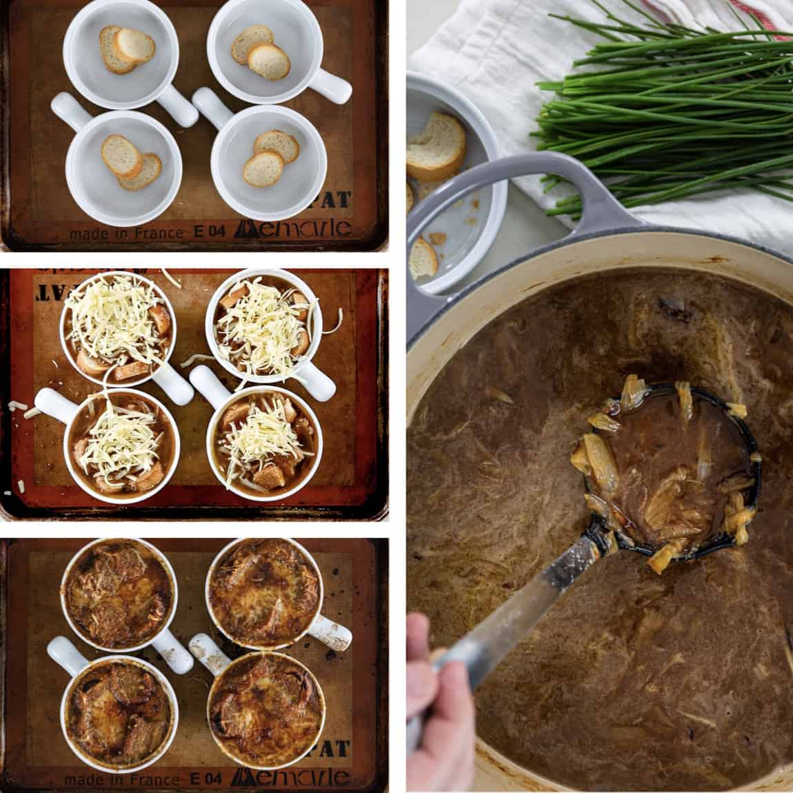 photo collage with 4 images shows steps to making a classic French onion soup recipe