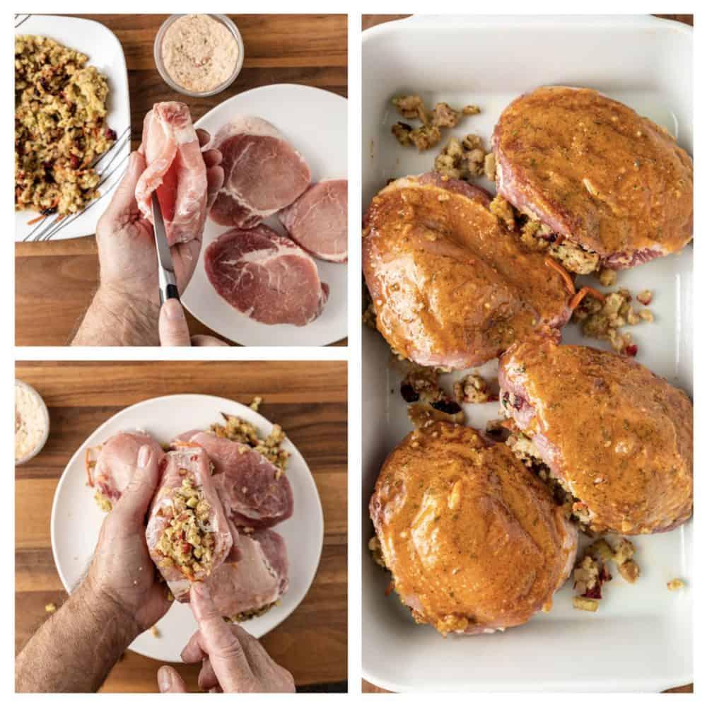 a montage of preparation shots stuffing Pork chops