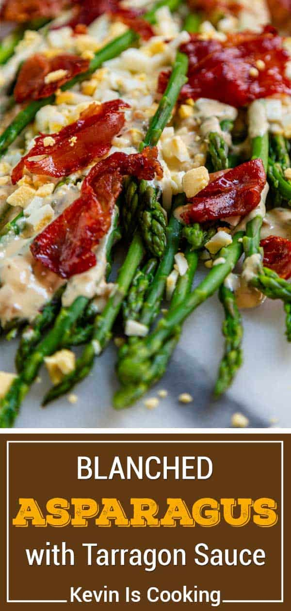 titled image shows vegetable side dish with crispy prosciutto and hard boiled eggs over a creamy sauce