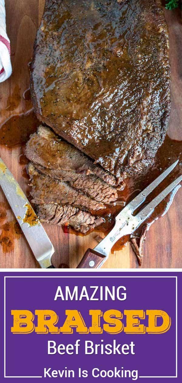 titled photo shows  juicy sliced braised beef brisket
