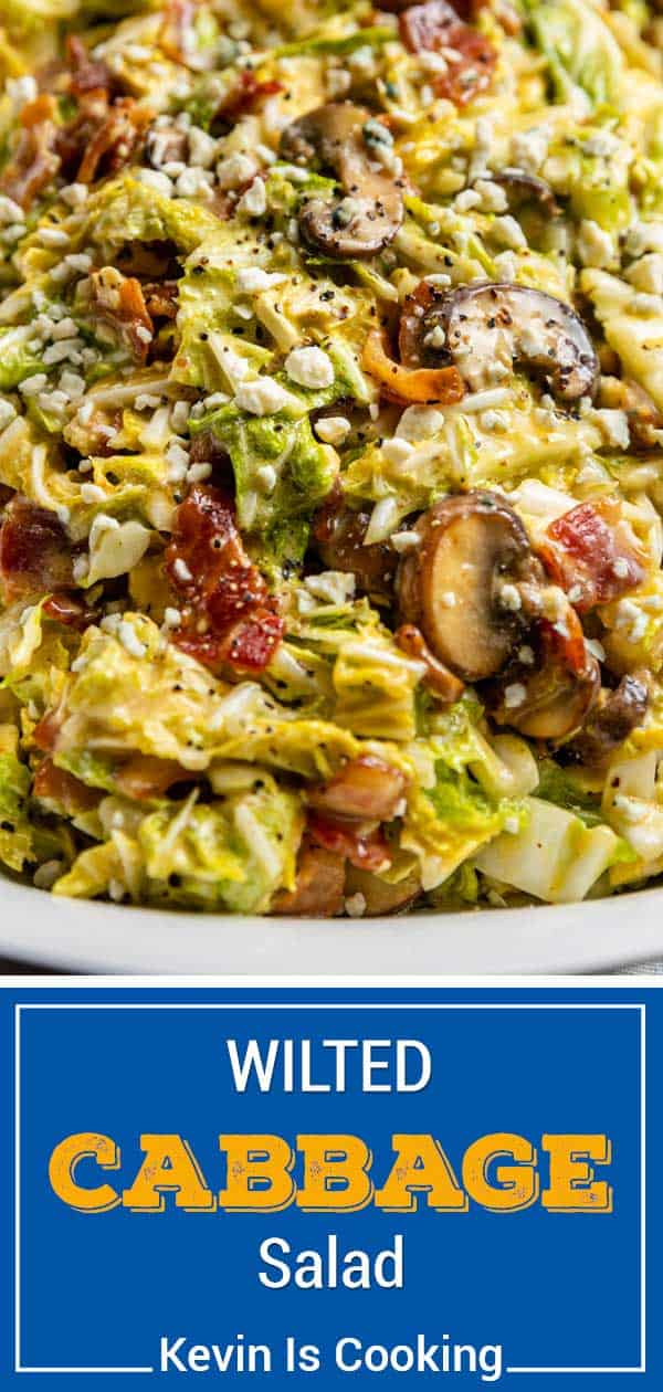titled photo (and shown) Wilted Cabbage Salad (sauteed mushrooms, bacon and cheese on warm cabbage)
