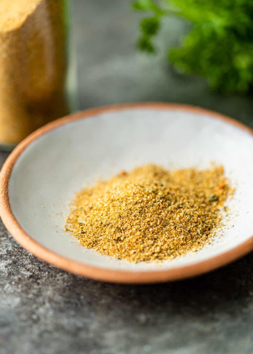mixture of no salt seasoning in small white bowl