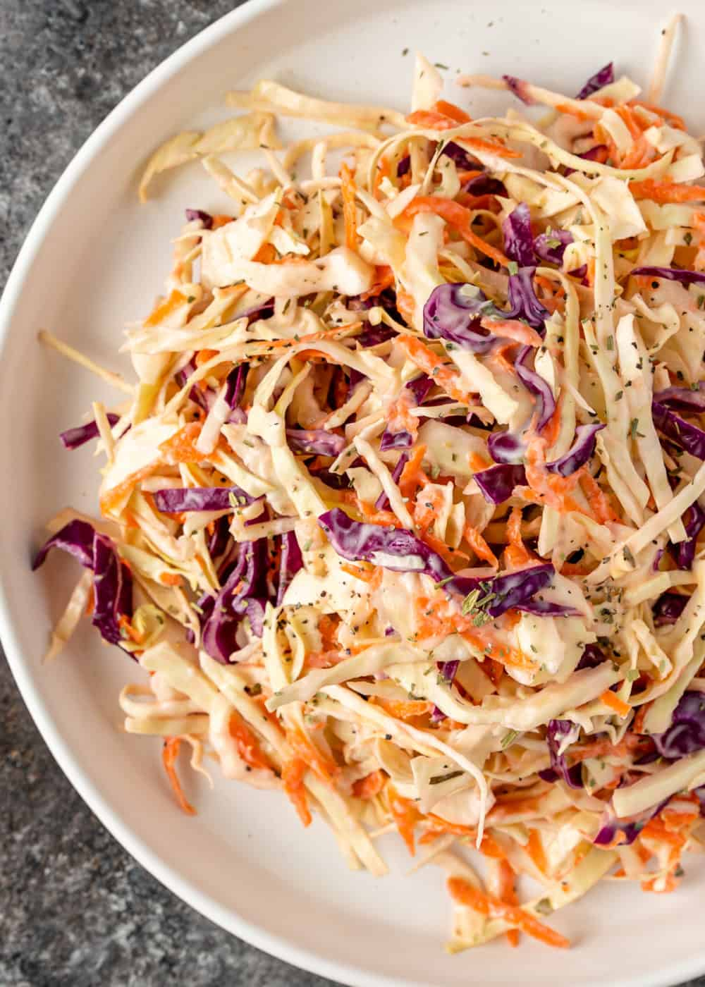 overhead: plate of creamy southern coleslaw