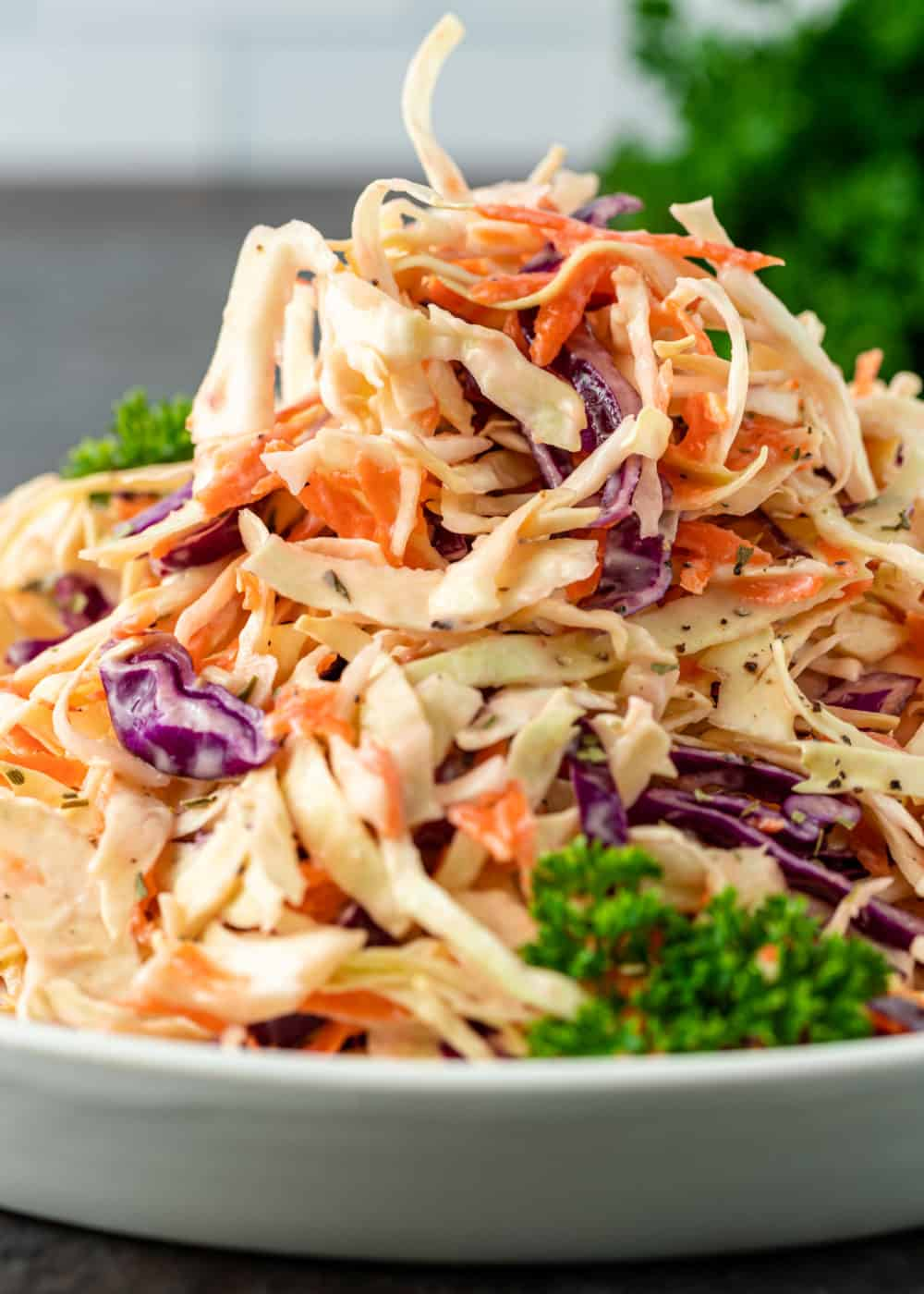 plate piled high with southern coleslaw in creamy vinegar dressing