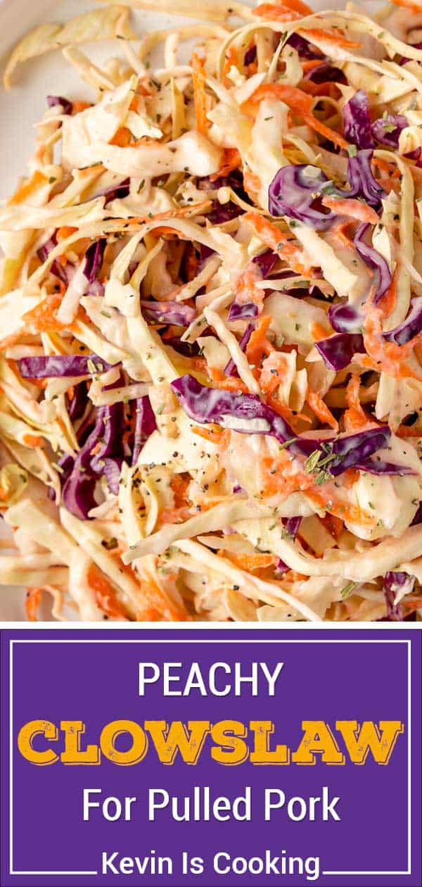 titled Pinterest collage (and shown close up): peachy coleslaw for pulled pork
