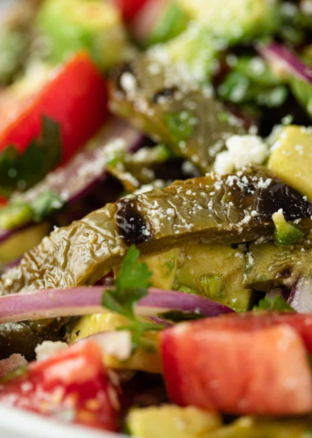 extreme close up healthy salad with, strips of grilled nopales