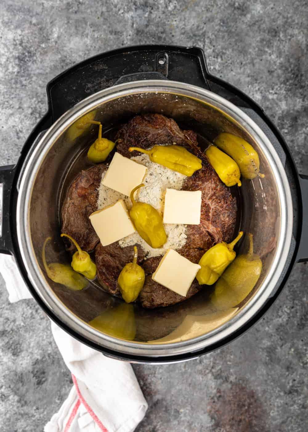 ingredients for Mississippi roast in Instant Pot