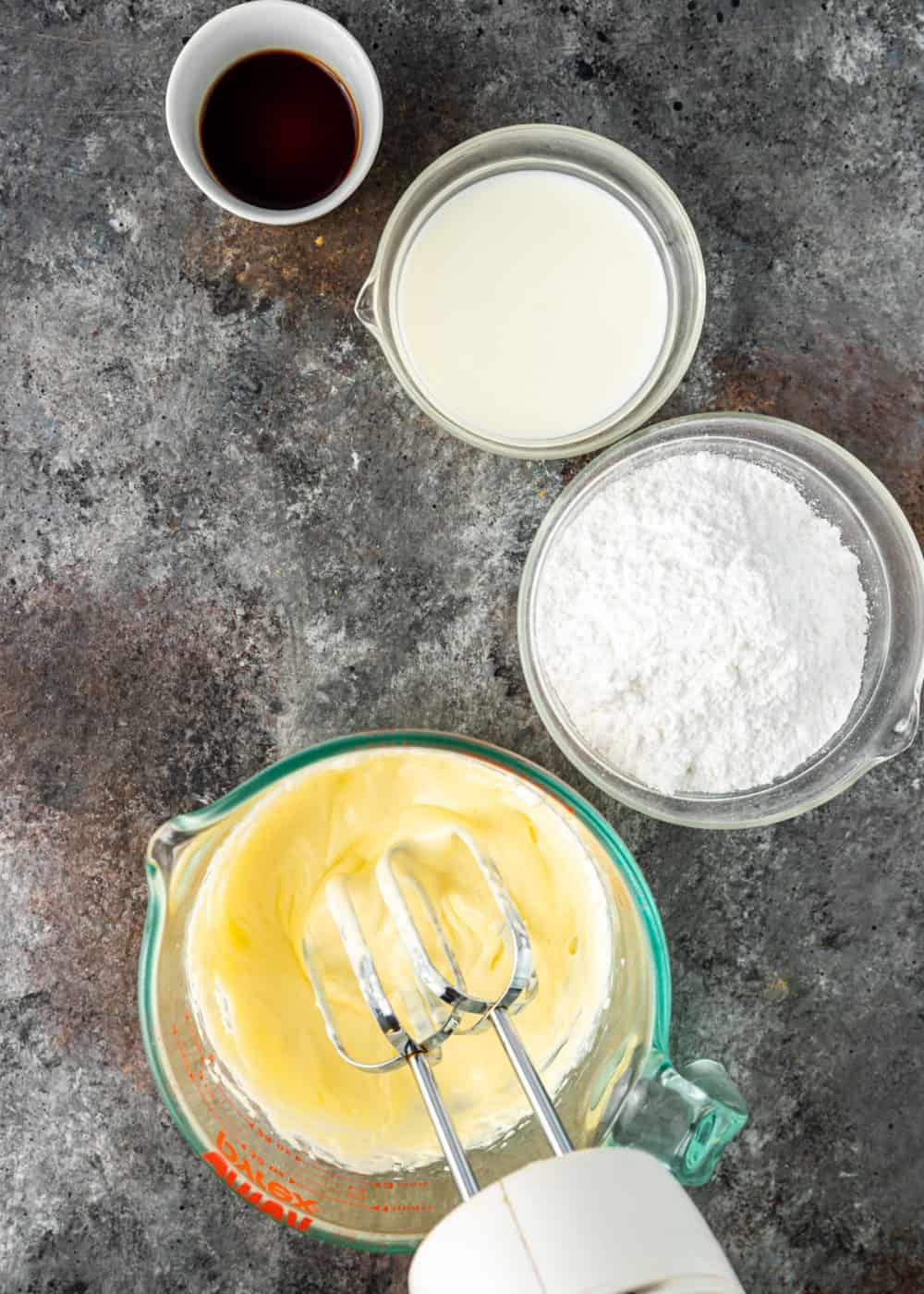 overhead shot of powdered sugar glaze ingredients