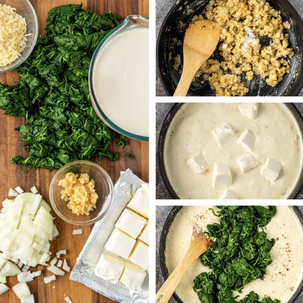 photo collage show steps on how to make creamed spinach