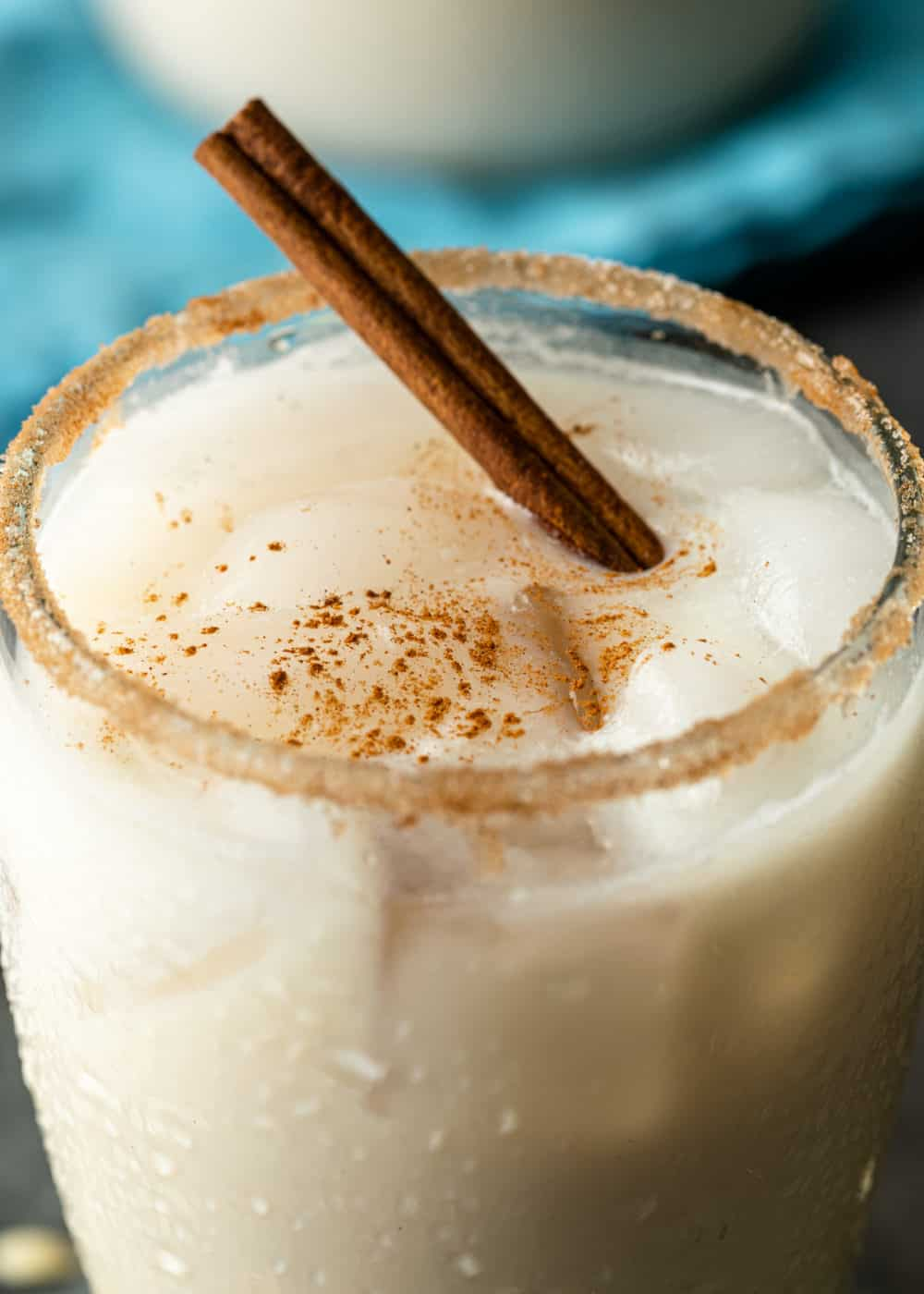 close up image of horchata in a glass