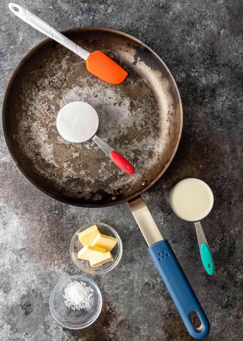 ingredients to make homemade caramel