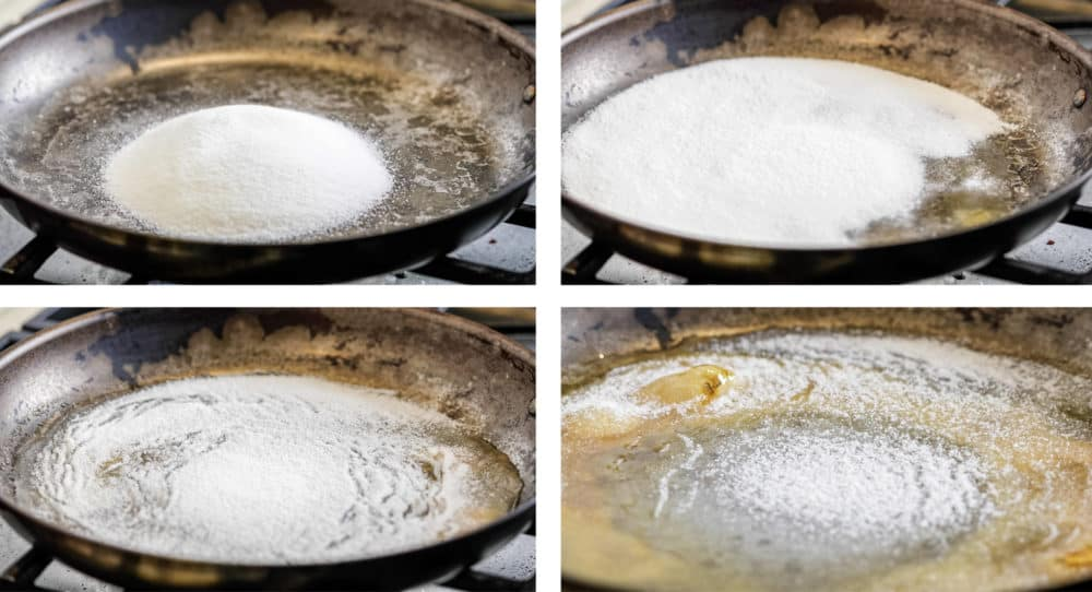 photo collage of step by step process to caramelizing sugar