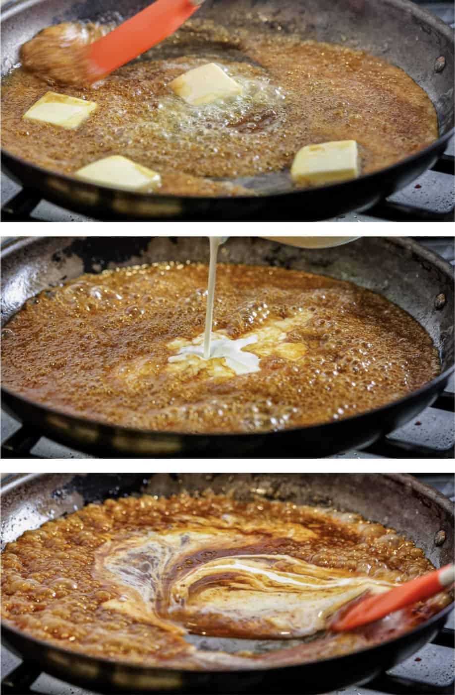 process steps for making homemade caramel sauce