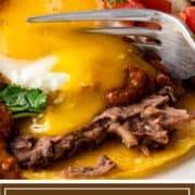titled image of fork cutting into mexican eggs
