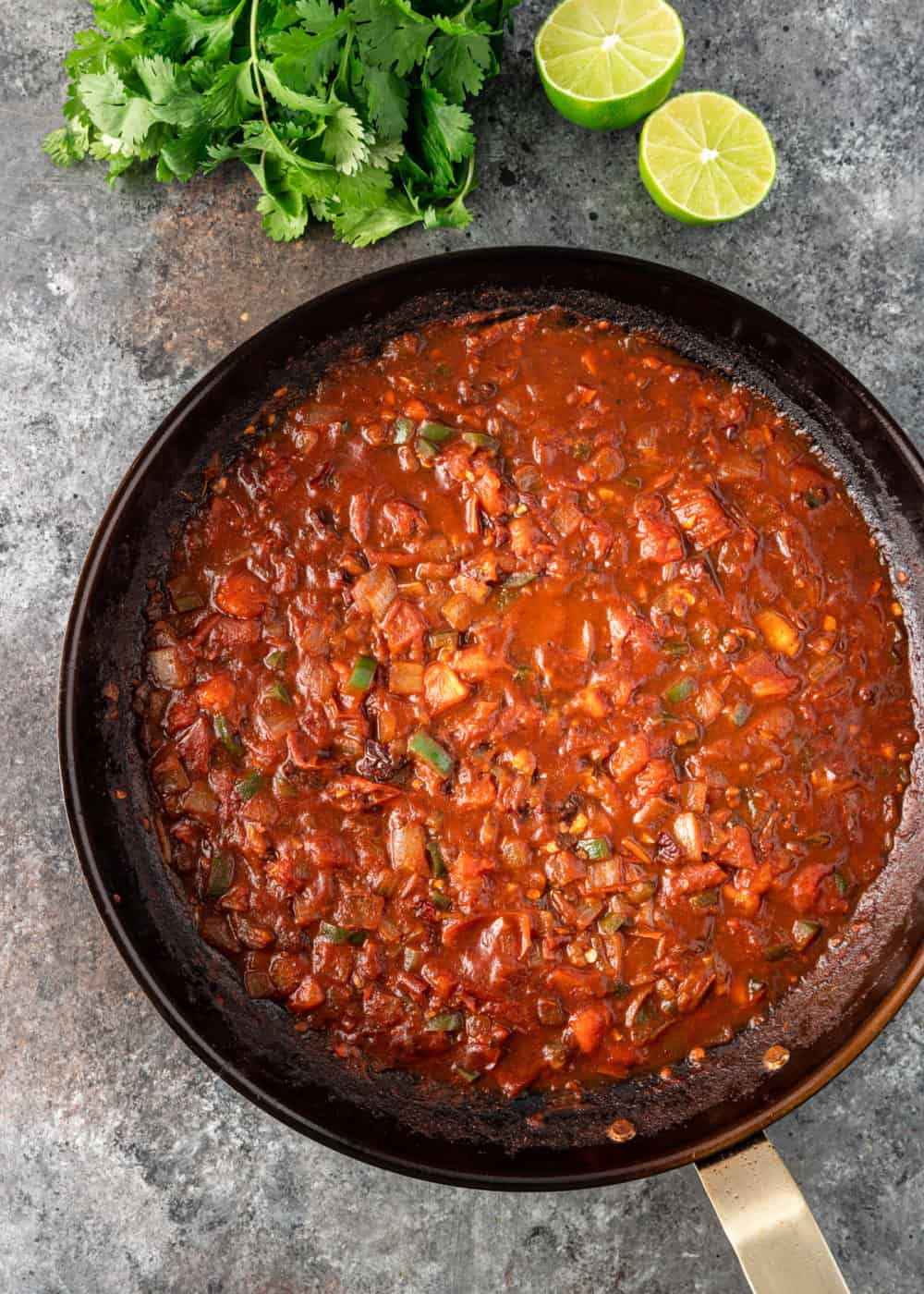 ranchero sauce in saucepan, before pureeing