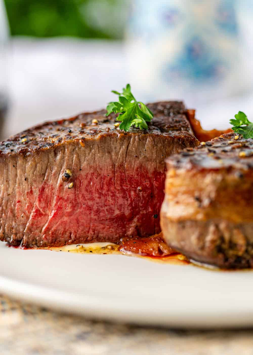medium rare steak sliced exposing the center
