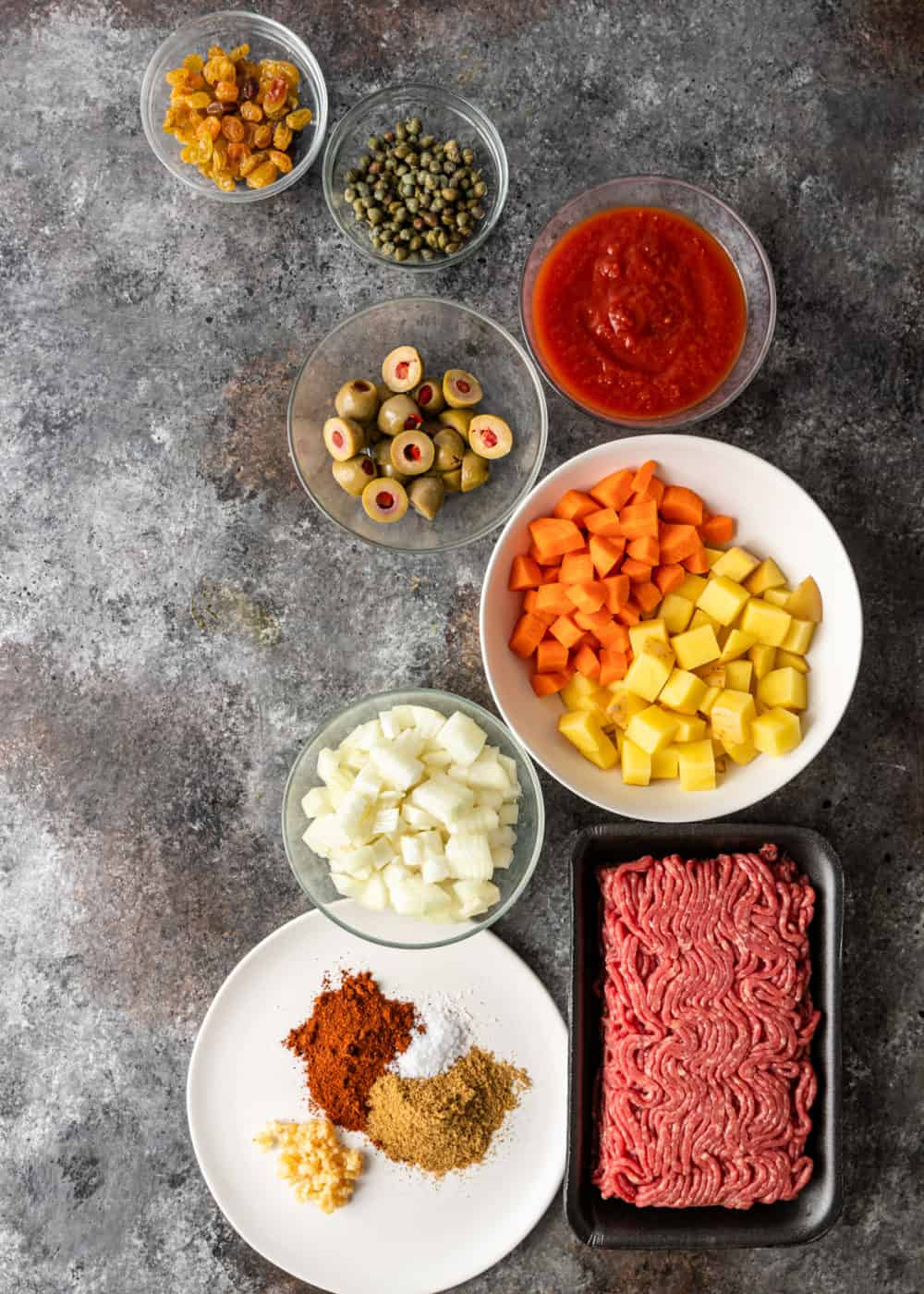 Ingredients for Beef Picadillo