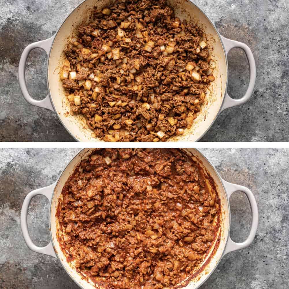 cuban picadillo in a pan cooking