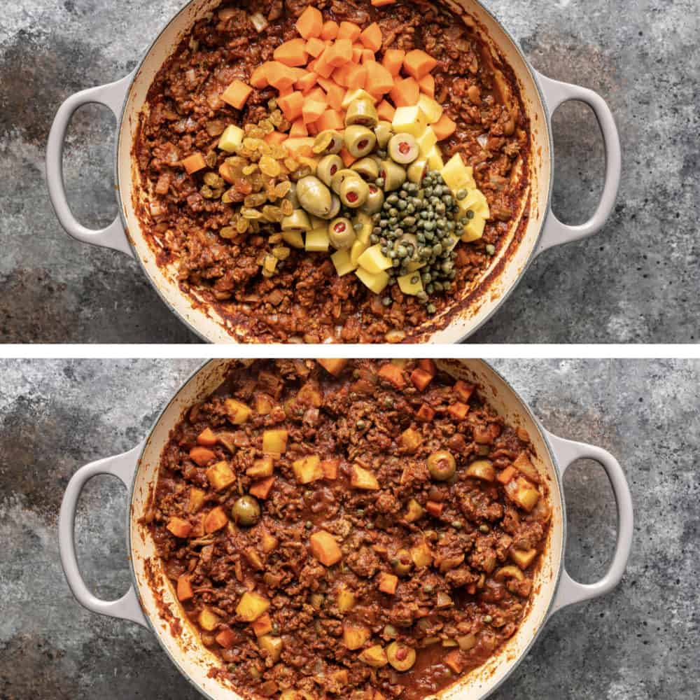 adding vegetables into cuban beef picadillo while cooking