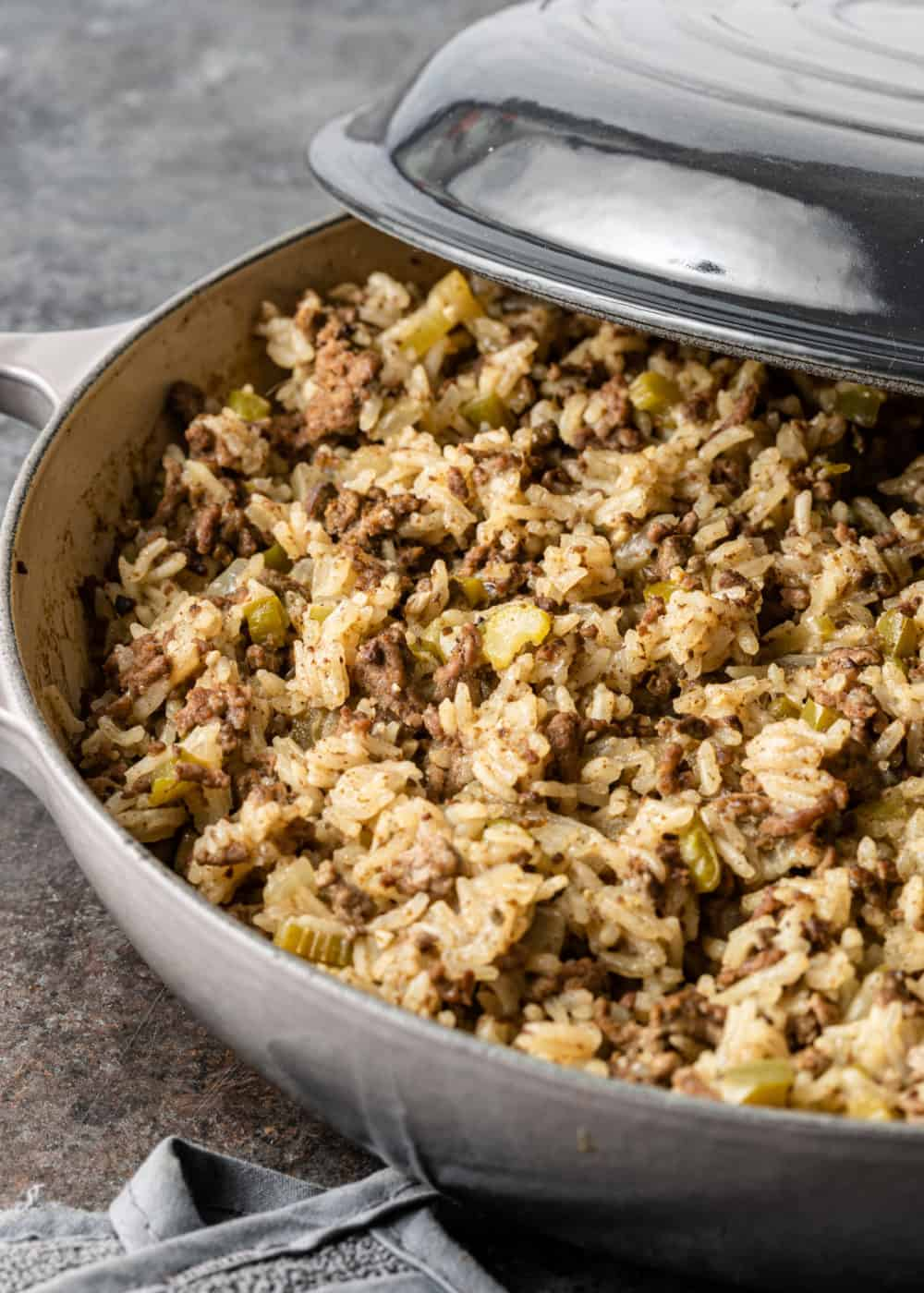 basmati rice, ground beef, celery, onion, and spicy seasonings combined and cooked in saute pan