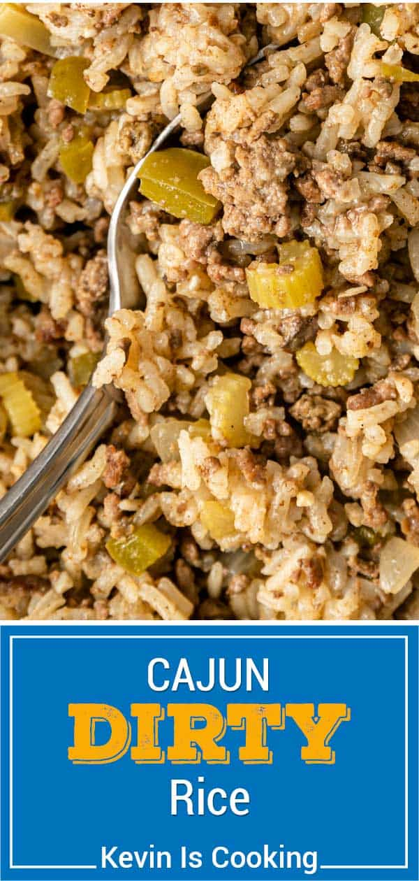 titled image for Pinterest (and shown): Cajun Dirty Rice Recipe