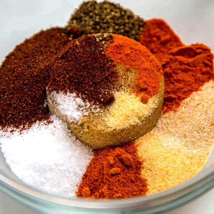six spices in a bowl for pork seasoning
