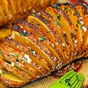 hasselback potato, close up, after baking
