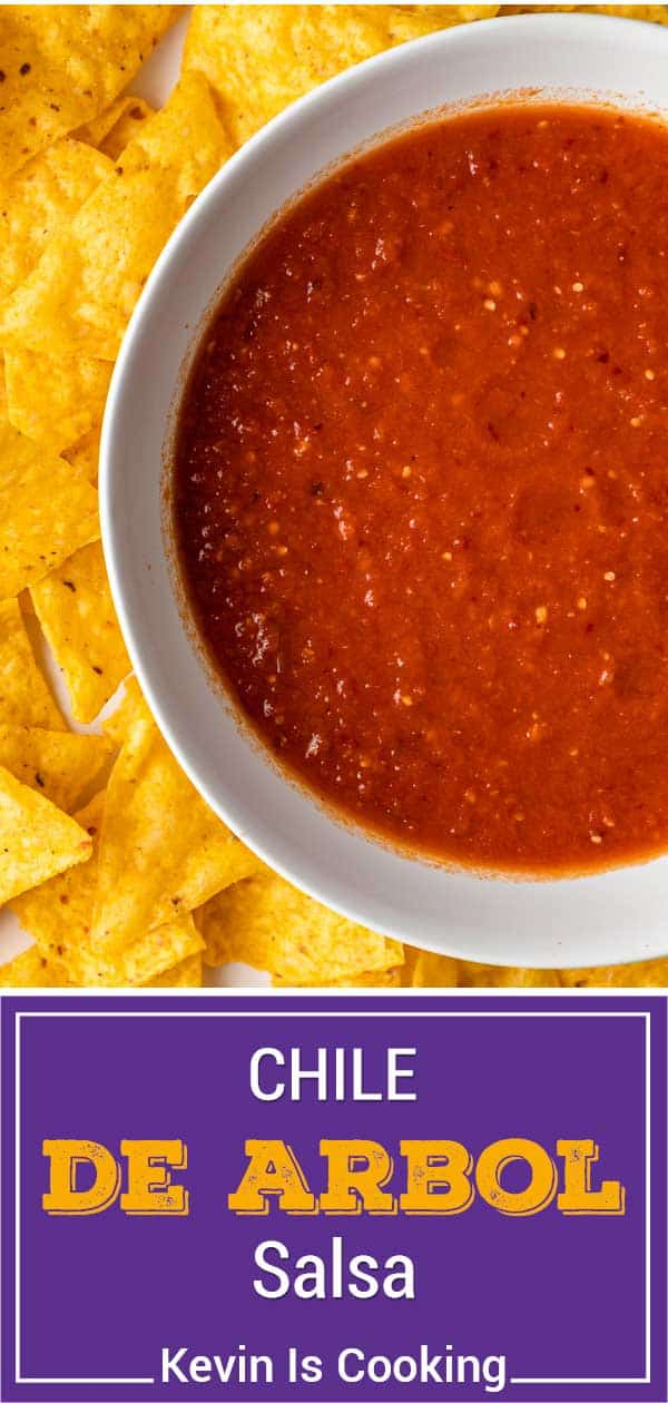 titled image (and shown in a white bowl): Chile de Arbol Salsa